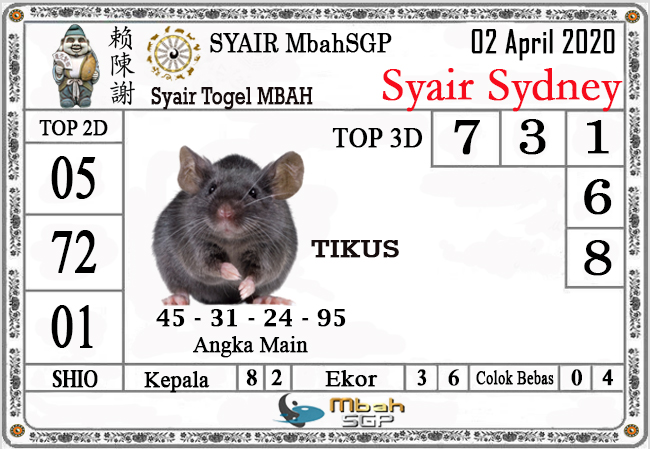 Syair Sidney Kamis 02 April 2020 - Syair Mbah Sidney