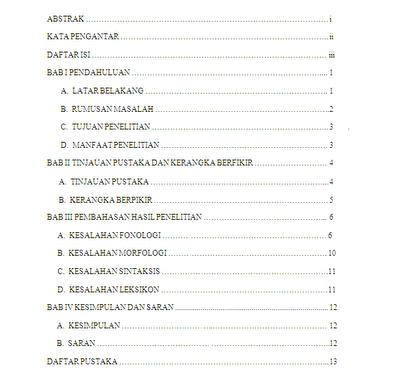 Contoh Daftar Isi Makalah Yang Benar