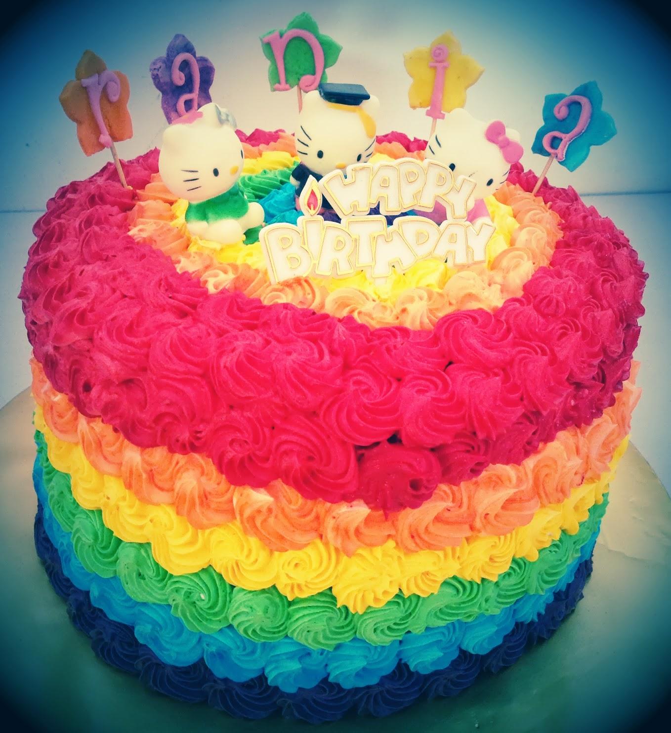 Ninie Cakes House Rainbow Cake Figurine Hello Kitty