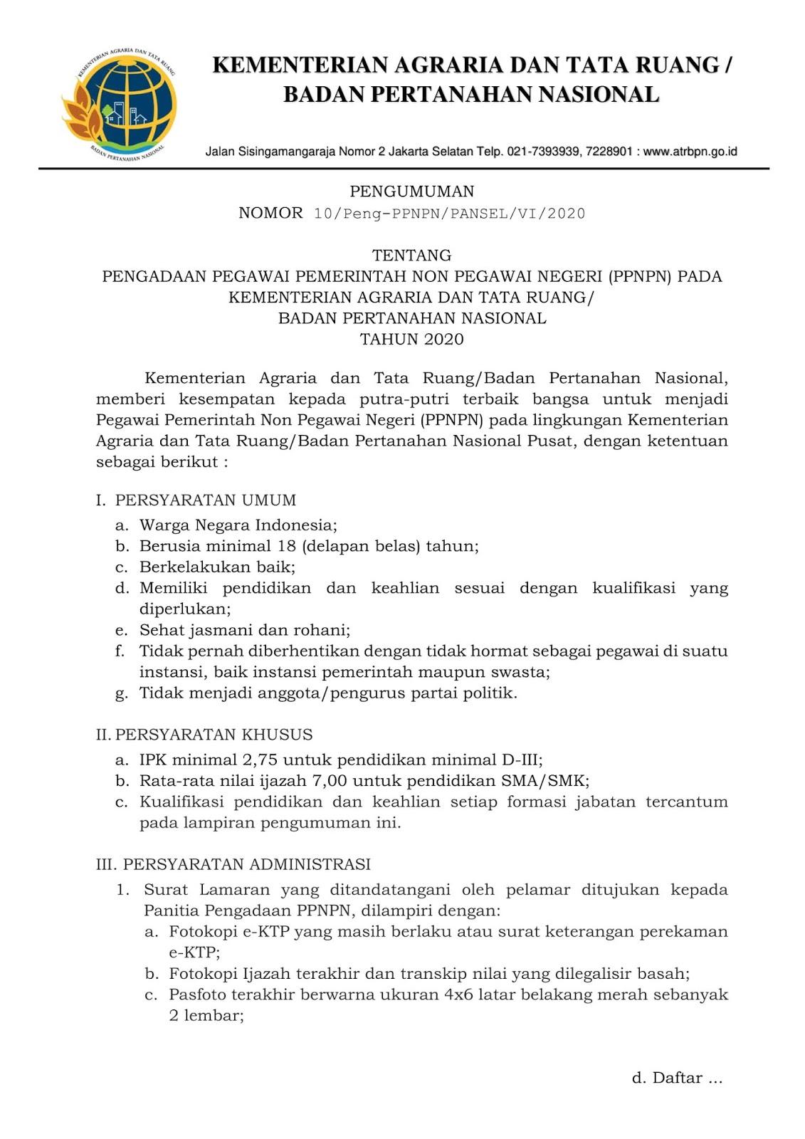 Lowongan Kerja SMA SMK PPNPN Kementerian Agraria dan Tata Ruang/Badan Pertanahan Nasional