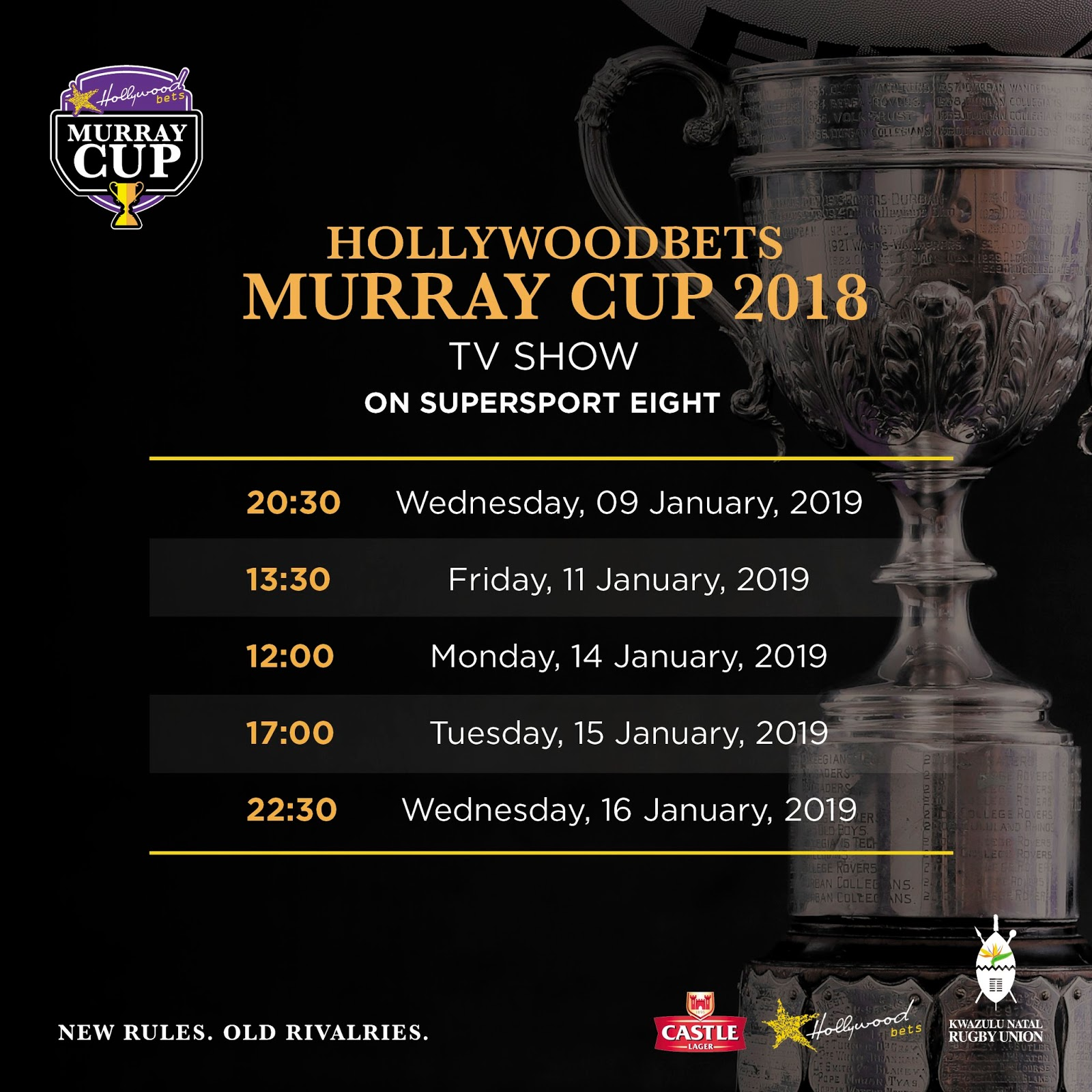 Hollywoodbets Murray Cup 2018 - TV Schedule - Rugby - Supersport 8