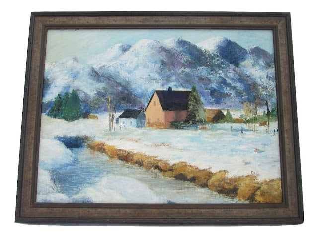 Snowy Farm in the Rockies Oil on Canvas by Emily Faw Canadian Artist