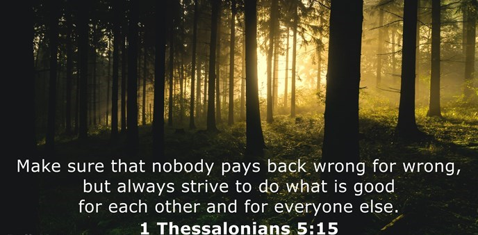 Make sure that nobody pays back wrong for wrong, but always strive to do what is good for each other and for everyone else.