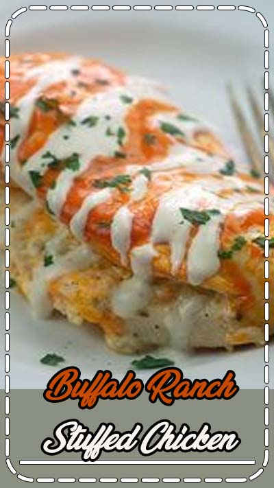 Chicken stuffed with cheese and ranch and coated in spicy wing sauce! It's low carb, keto friendly, and a favorite in my house! #lowcarb #buffalochicken #keto #recipe