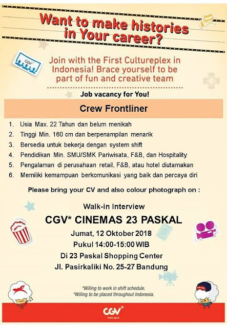 Loker CGV Cinemas Bandung
