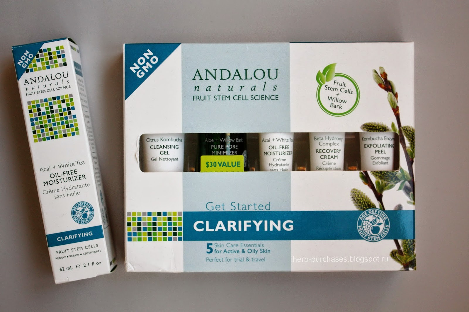 Andalou Naturals, Get Started Clarifying, Skin Care Essentials, 5 Piece Kit + Andalou Naturals, Oil-Free Moisturizer, Acai + White Tea, 2.1 fl oz (62 ml)