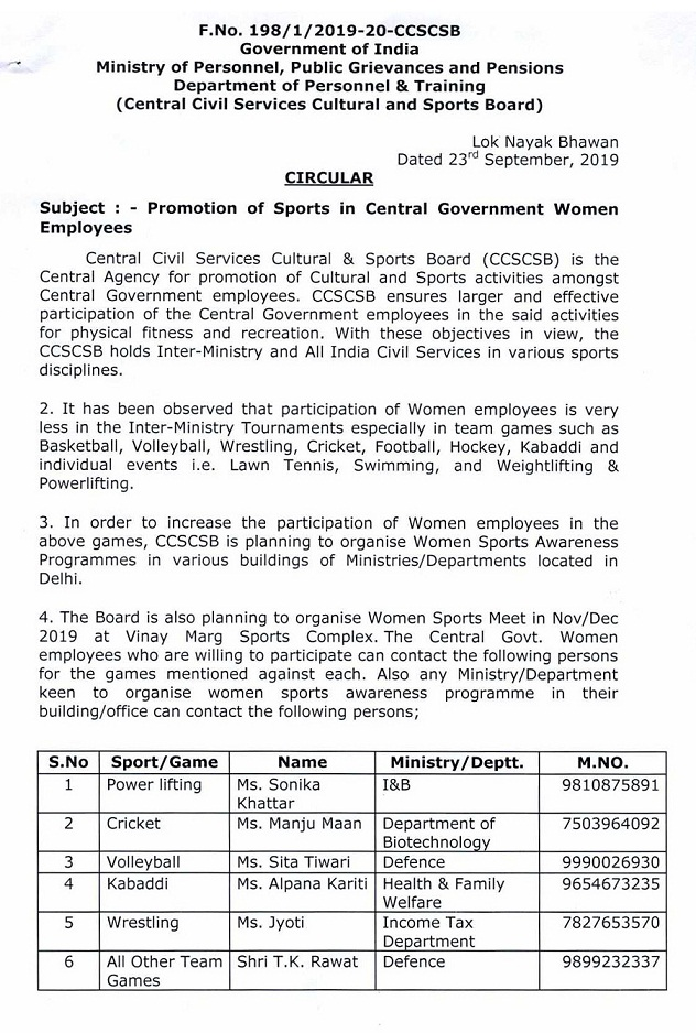 Promotion of sports in Central Government Women employees