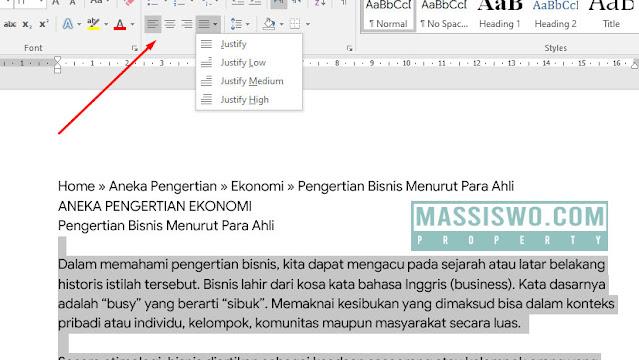 Cara mengatur paragraf di word