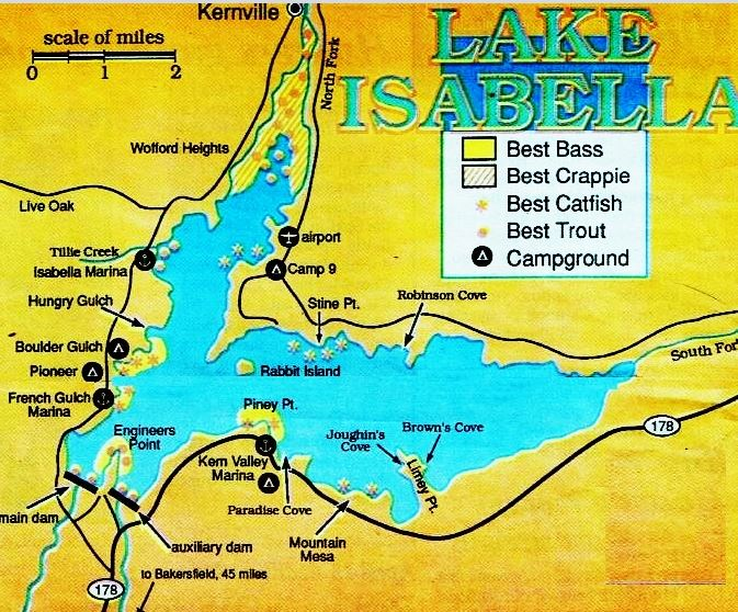2018 lake isabella fishing map fishing report hunting for Fish lake ca