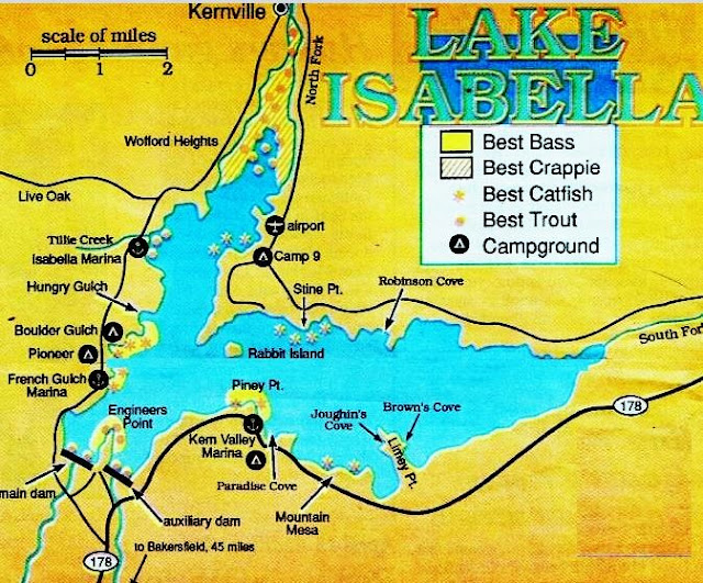 Lake Isabella fishing map, fish report