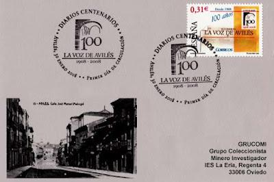 filatelia, Avilés, La Voz de Avilés, periódico, centenario, sello, tarjeta, matasellos