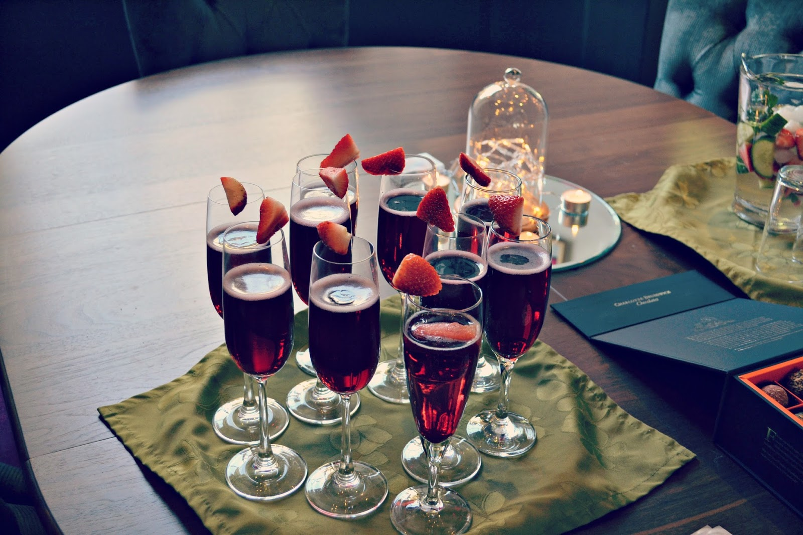 Harington House, spa, strawberry Kir Royale drinks