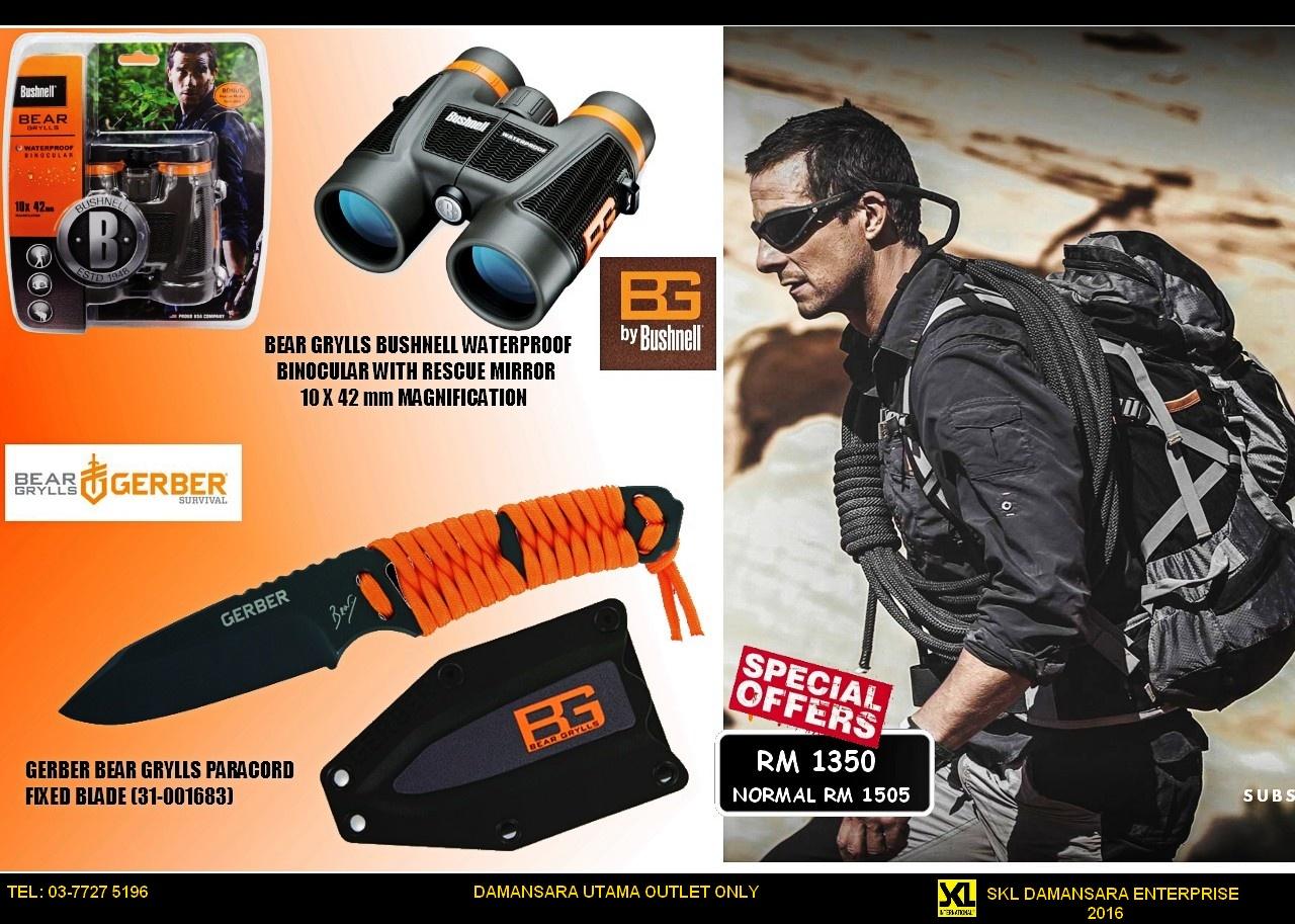 Best Deal Ever!!! Bear Grylls Bushnell Waterproof Binocular & Gerber BG Paracord now at RM 1350