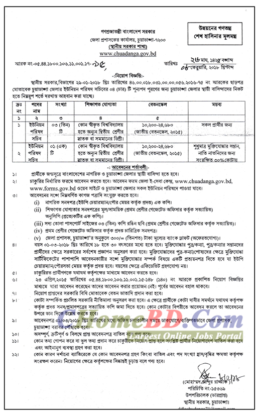 District Council Office Job Circular 2018