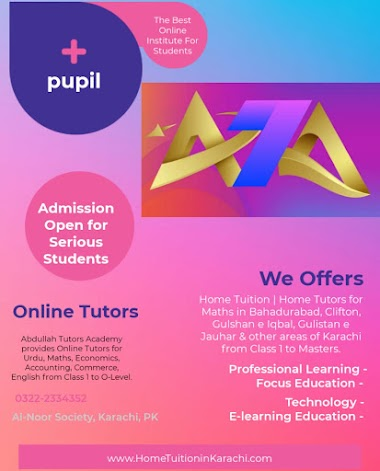 Abdullah Tutors Academy offering Home Tuition for Maths in Gulberg Town, Hussainabad, Karachi