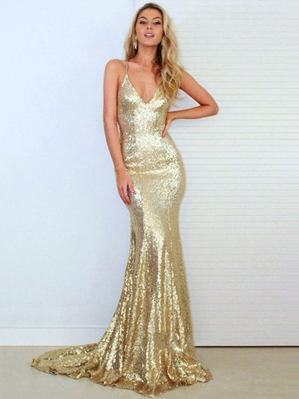 gold mermaid dress -PickeDress