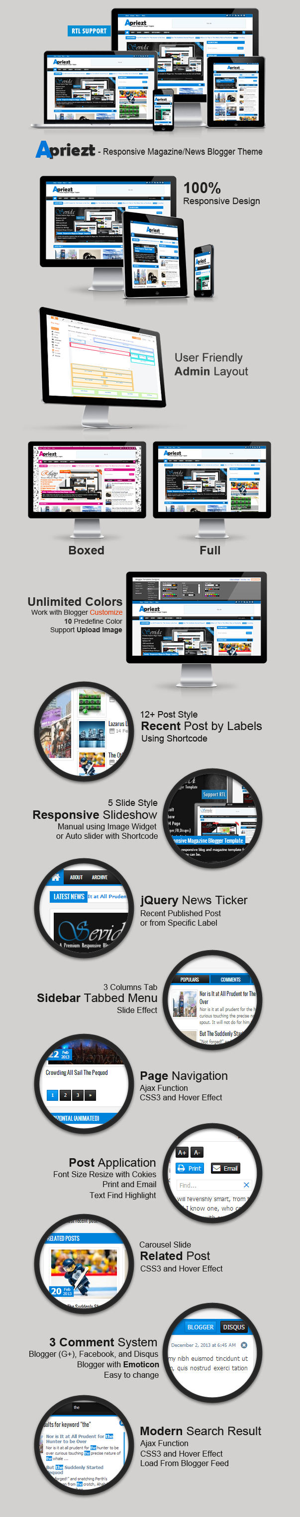 Apriezt Responsive Magazine/News Blogger Theme Features