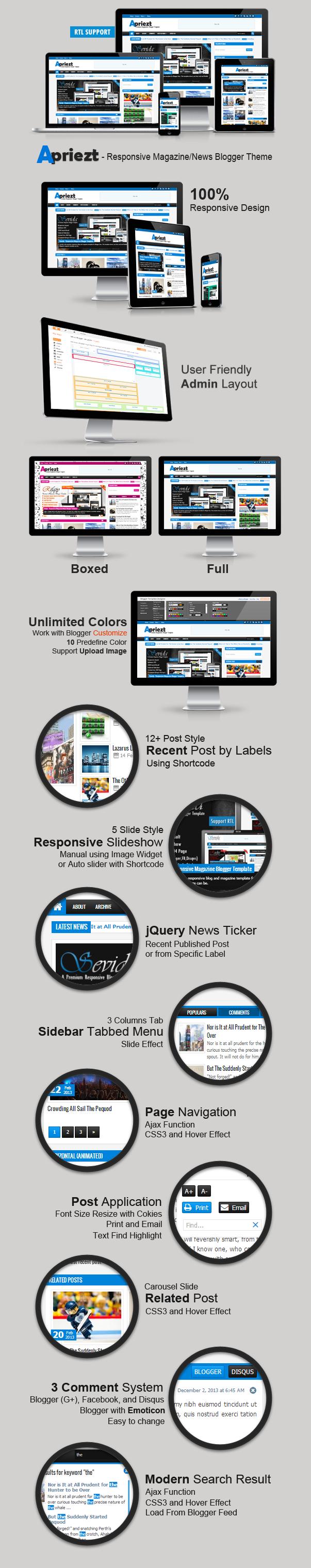 Apriezt Responsive Magazine/News Blogger Theme Features