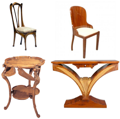 Examples of different styles of Art Deco & Art Nouveau furniture