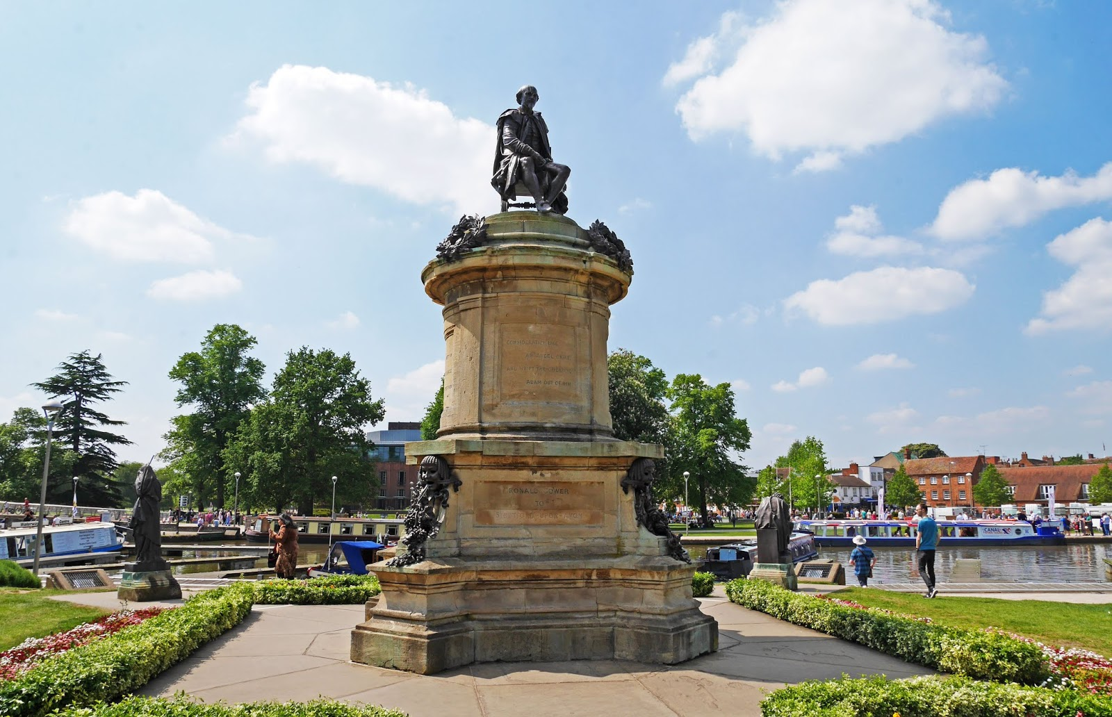 Shakespeare's Memorial in Bancroft Gardens, Stratford-upon-Avon