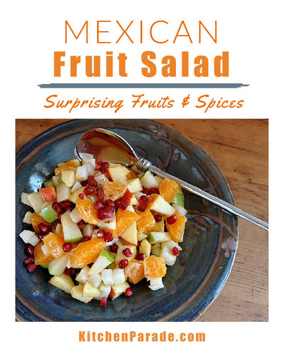 Mexican Fruit Salad ♥ KitchenParade.com, a light and simple fruit salad with a surprising mix of spices and fruits.