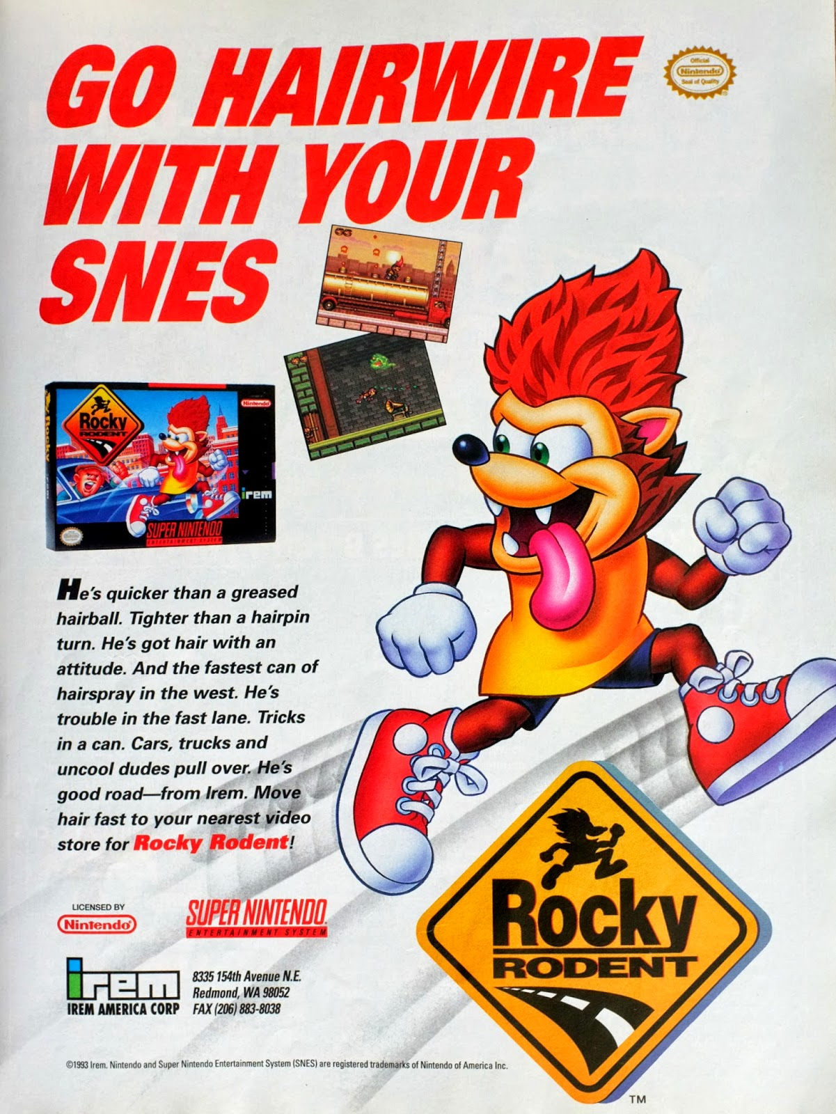Rocky Rodent for SNES advertisement