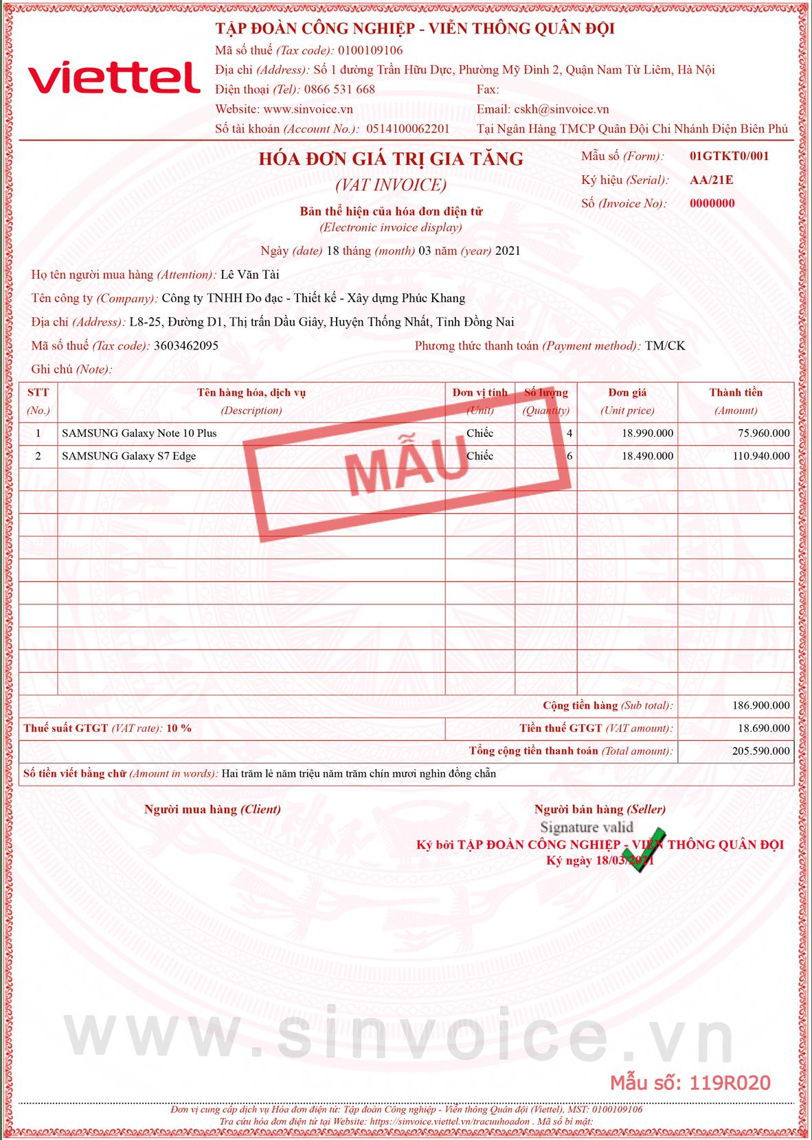 Mẫu hóa đơn điện tử số 119R020