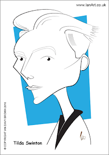 Tilda Swinton caricature by Ian Davy Brown