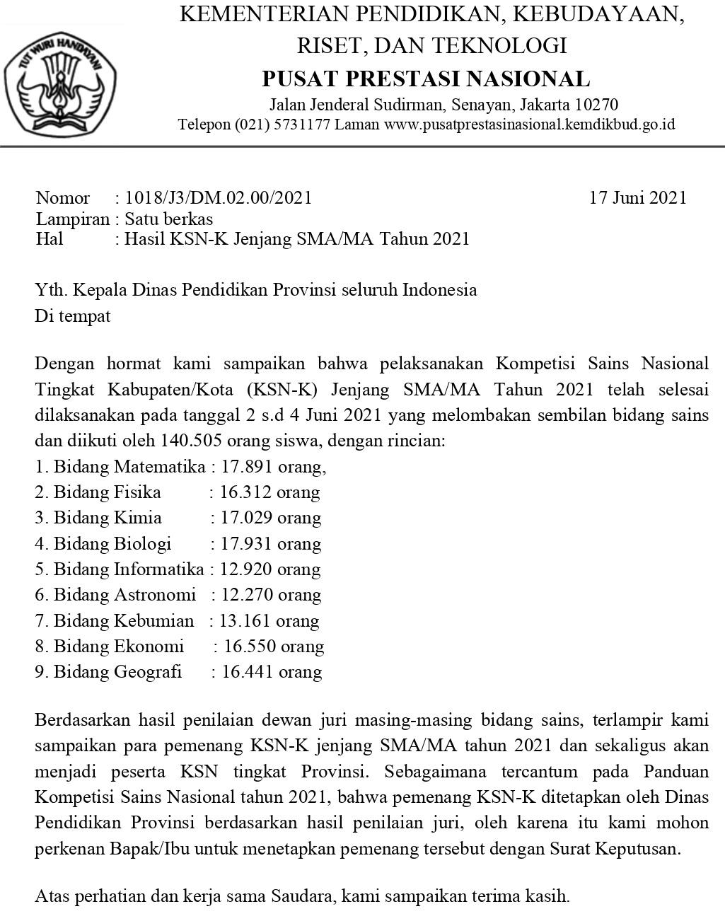 Kompetisi Sains Nasional Tingkat Kabupaten/Kota (KSN-K) Jenjang SMA/MA Tahun 2021