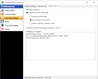 Screen image showing how to change the default OutDisk SFTP message that is inserted into email.