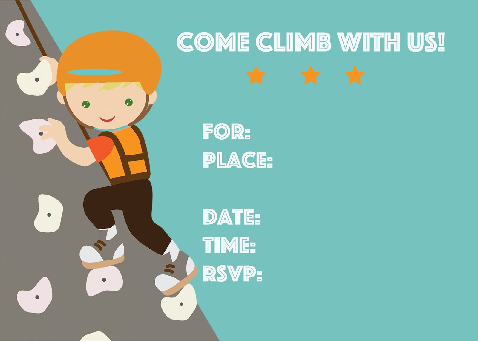 Free Rock Climbing Birthday Party Invitation Printable Diy Editable