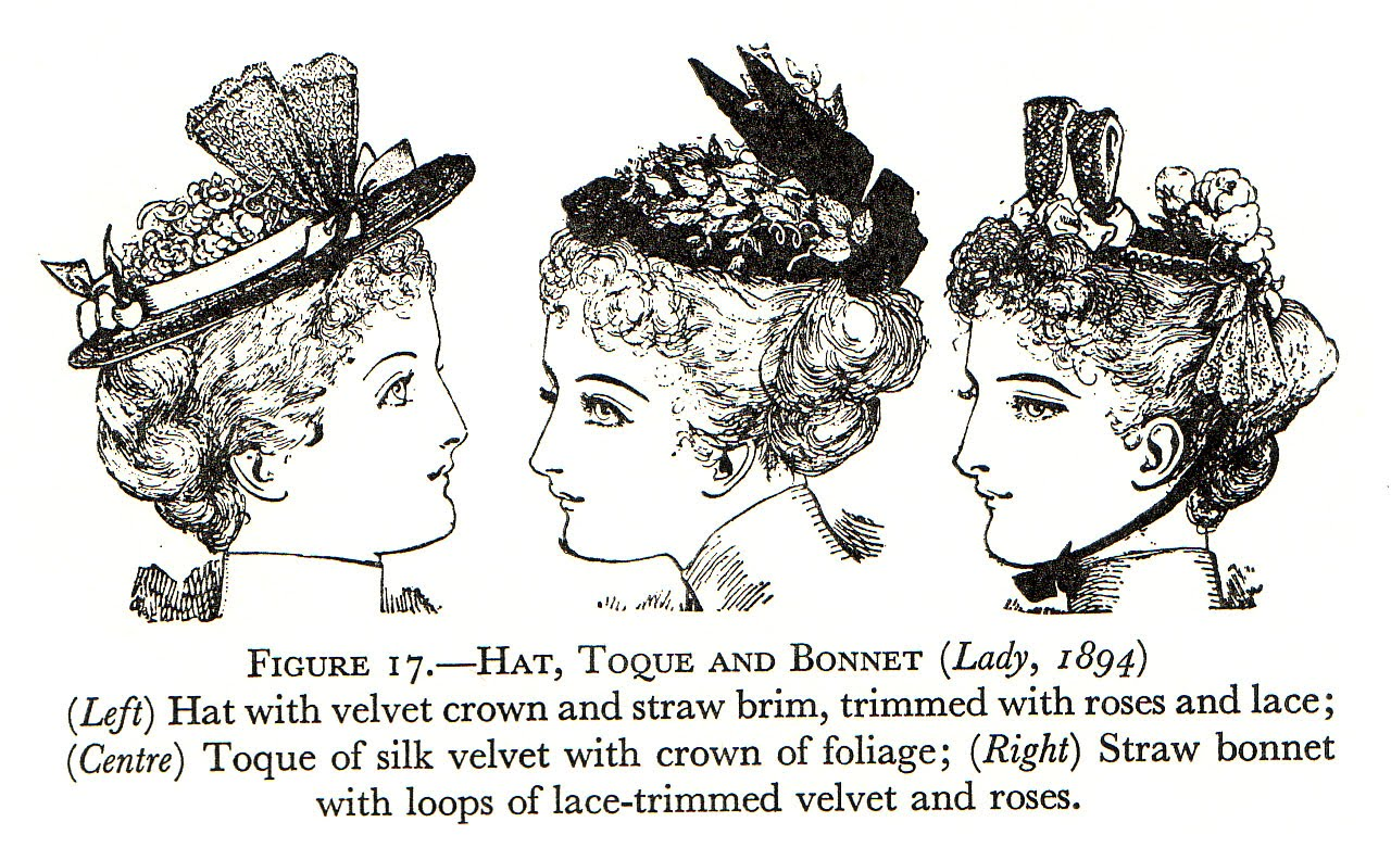 Drawn Dolls: Victorian accessories. Hat illustrations