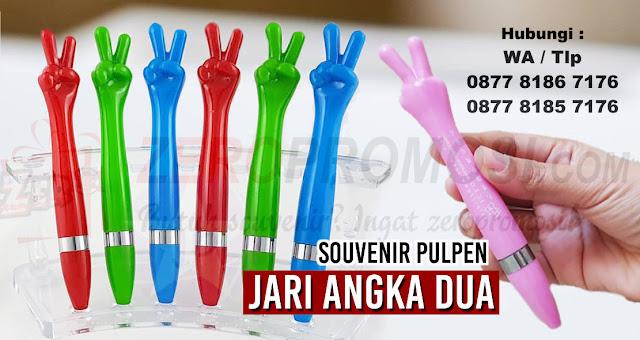 pen jari angka 2, pulpen unik bentuk tangan, Pulpen Jari angka dua bisa disablon logo anda Cocok untuk souvenir dan promosi anda