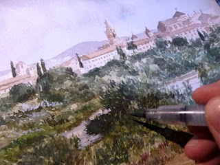 Pintando una acuarela de Córdoba