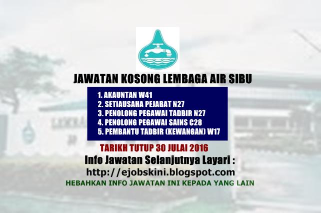 Jawatan Kosong Lembaga Air Sibu