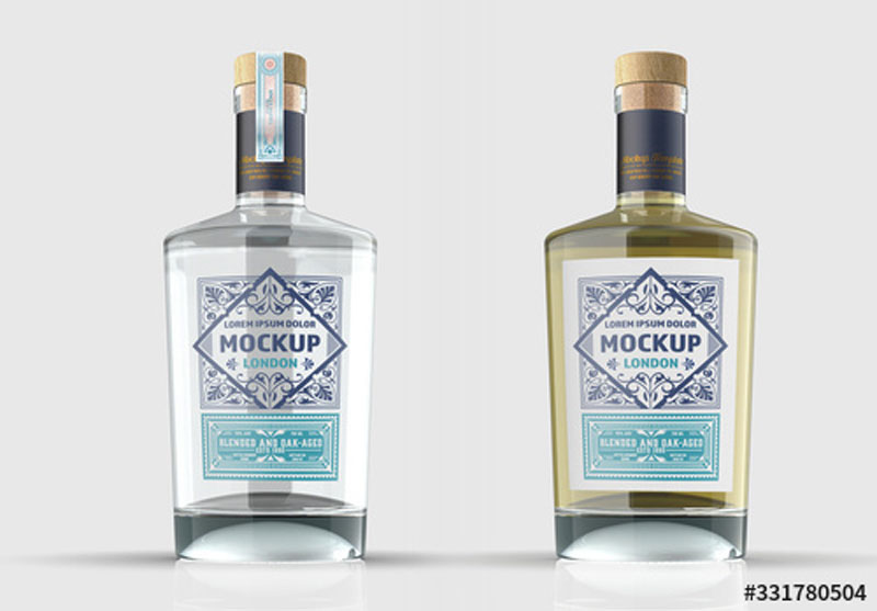Clear Glass Gin Bottle Mockup 331780504