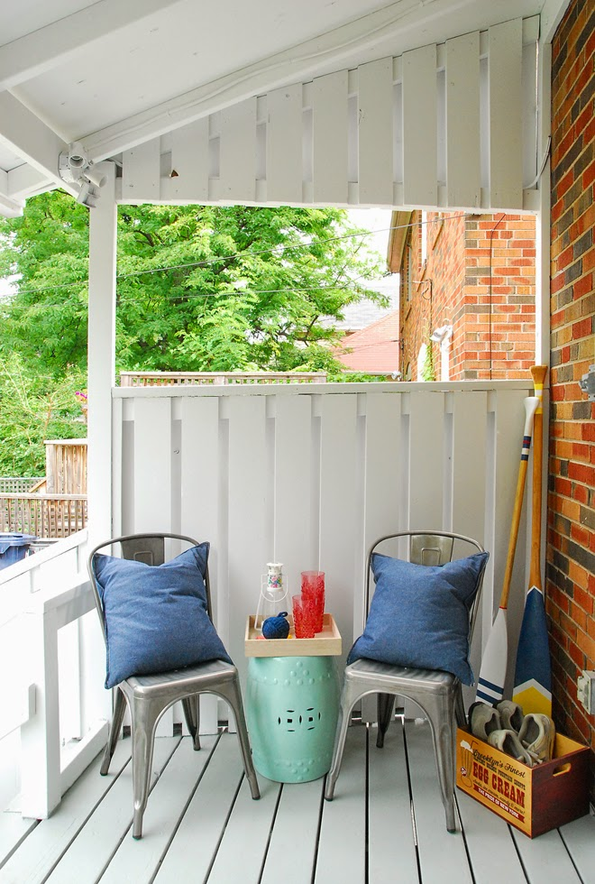 Rambling Renovators | diy nautical oars striped gunmetal chairs covered porch shoe crate