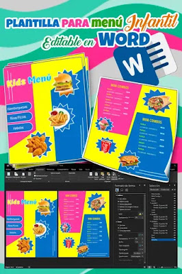 Plantilla de menú infantil para editar en Word