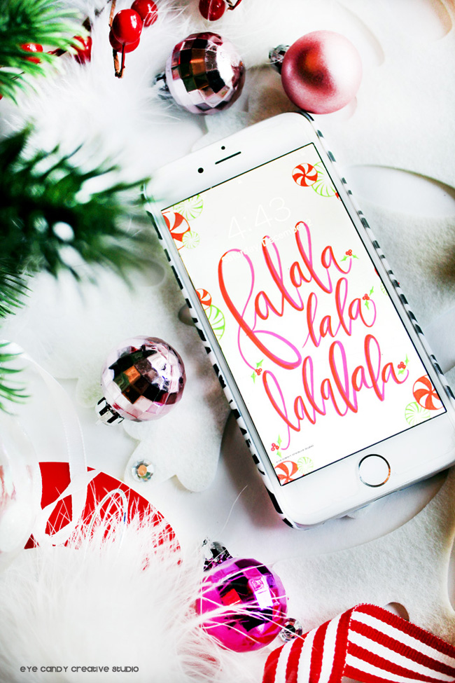 christmas art, cell phone art, falalalala, christmas decor, hand lettered