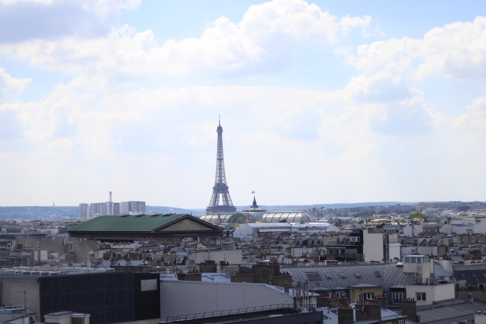 Eiffel Tower from Galeries Lafayette rooftop, Paris, France