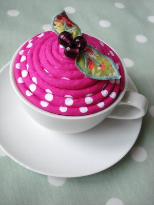 serve up some yarn in this teacup pincushion - a creative tool for your DIY friend
