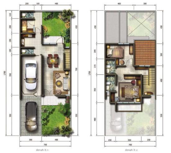 Denah rumah minimalis ukuran 7x17 meter 3 kamar tidur 2 lantai