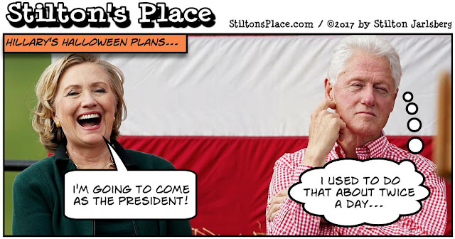 stilton's place, stilton, political, humor, conservative, cartoons, jokes, hope n' change, hillary, clinton, halloween, uranium, scandal, dossier, bill