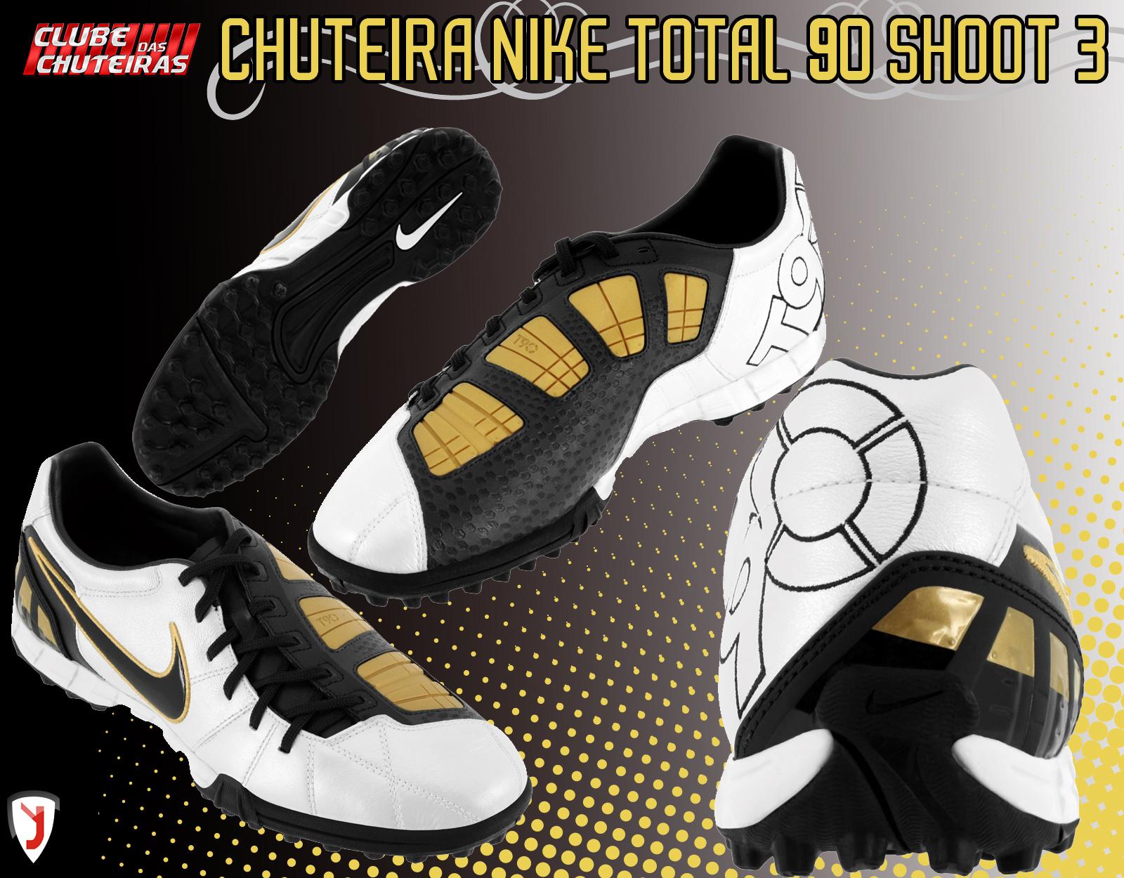 Chuteira Nike Total 90 Shoot 3 TF – Branco Preto e Dourado - Clube ... 492dd429904fe
