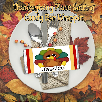 Thanksgiving Place Card Setting Candy Bar Wrapper