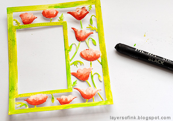 Layers of ink - Poppy Frame Art Journal Page by Anna-Karin Evaldsson.