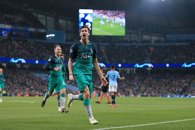 Tottenham forward Llorente celebrates as his goal sends Spurs through against Manchester city at the Etihad