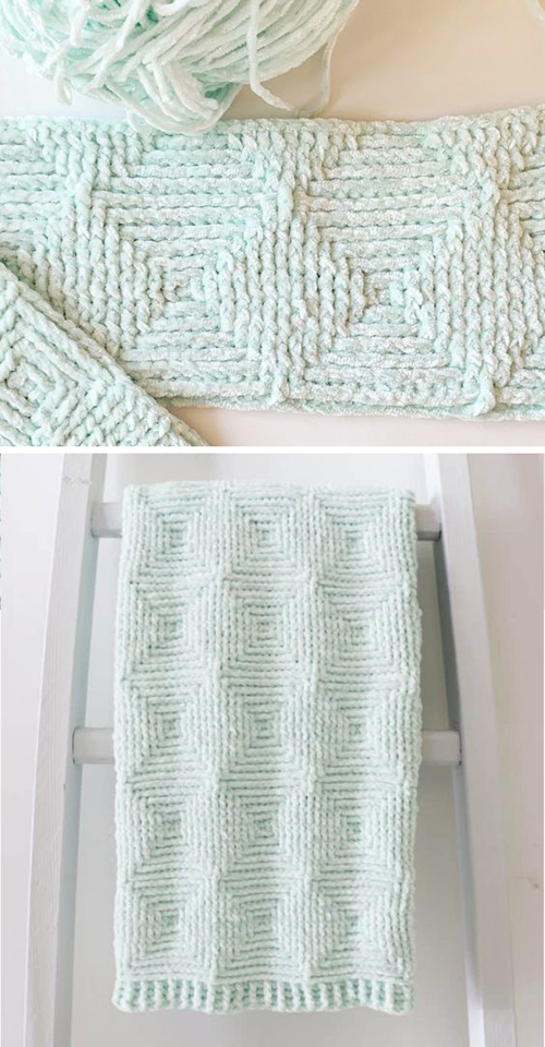 Crochet Ribbed Diamond Blanket - Free Pattern