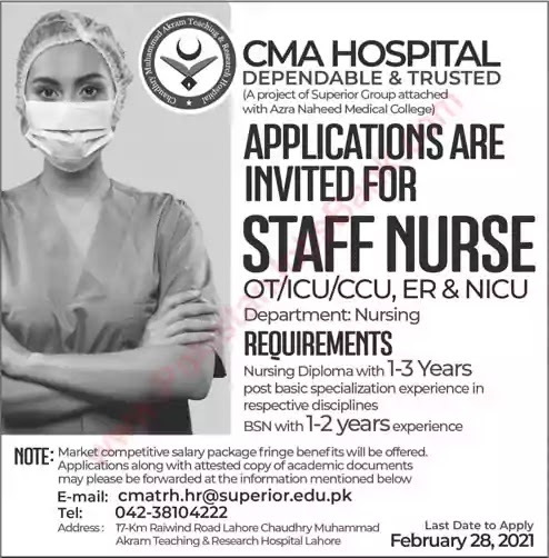 Latest Jobs in Pakistan in Staff Nurse Jobs in CMA Hospital Lahore Jobs 2021