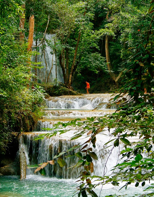 Erawan waterfall means low cost travel near the capital